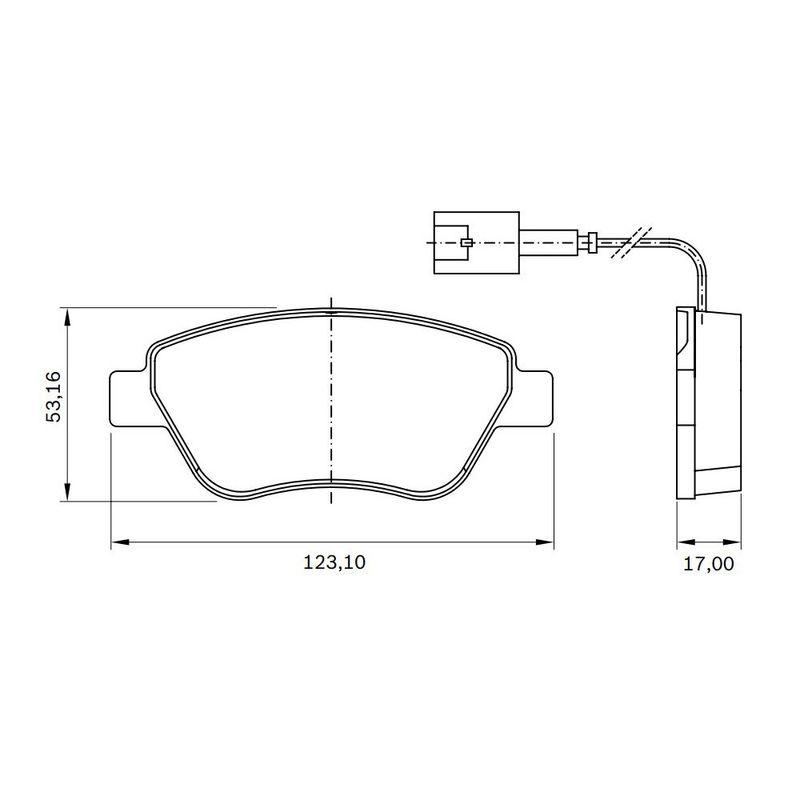 Pastilha-Freio-Convencional-Dianteira-Com-Alarme-Sistema-Bosch-Bb509B-0986Bb0516-Bosch
